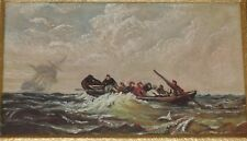 1892 Miniature Oil Painting on Porcelain. Lifeboat Sinking Ship by Martha Higley