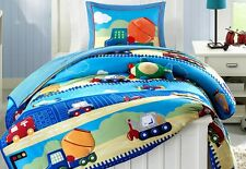 Construction Dump Truck Boys Full / Queen Comforter, Shams & Toss Pillow Bedding