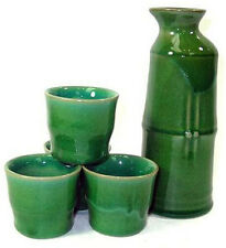 5 PCS Japanese Sake Bottle and Cups Set Green Fortune Lucky Bamboo Made in Japan