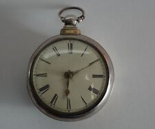ANTIQUE ENGLISH SILVER VERGE FUSEE PAIR CASED POCKET WATCH, c1841