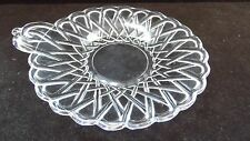 "Indiana Glass Clear Pretzel Glass 6 1/4"" Handled Small Cheese Plate Tray"