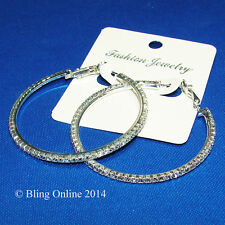 5cm SILVER TONE HOOP EARRINGS DIAMANTE CRYSTAL DETAIL WEDDING PROM BRIDAL BLING