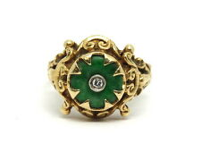 Antique ART NOUVEAU Genuine Green JADE Diamond 14k Solid Gold Filigree Ring