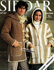 EASY HOODED DUFFLE COAT his & hers / 12ply  - COPY crochet pattern