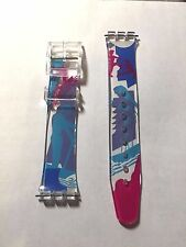 NEW 16MM PVC MULTICOLOR DESIGN FITS SWATCH REPLACEMENT WATCH BAND STRAP