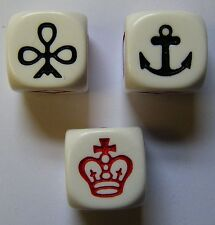 Crown and anchor dice x 3 jeu firetop mountain new
