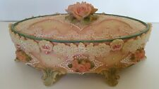 VINTAGE CERAMIC JEWELRY - MUSIC BOX - TRINKET BOX - ROSE - PINK - LOVE STORY