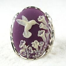 Hummingbird Purple Cameo Ring .925 Sterling Silver Jewelry Size Selectable Resin