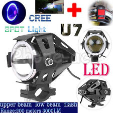 3000LM 125W CREE U7 LED Motorcycle Headlight Driving Fog Light Spot Lamp +Switch