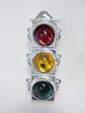Vintage Brooch AJC Street Light Red Yellow Green Lucite Cabochons Silver Tone!!!