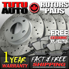 C0980 FITS 2011 2012 2013 HYUNDAI SONATA Cross Drilled Brake Rotors Pads [F+R]