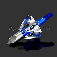 6X Blue 100grain Broadheads Arrow Hunting Arrowhead For Compound Bow Crossbow