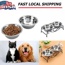 Double Stainless Steel Cat Dog Puppy Pet Water Food Feeder Dish Bowl Stand US