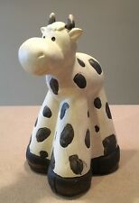 """Cow Figurine 5x9"""" Tall Ceramic Hand Painted -Adorable!"""