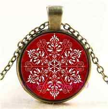 Vintage Elegant Snowflake Christmas Cabochon Glass Bronze Pendant Necklace