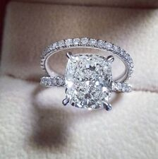 Certified 3.50ct White Cushion Diamond Wedding/Engagement Ring Set in 10K GOLD