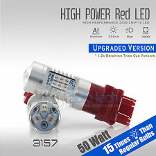 2X 3157 50W Red Projector LEDs High Power Chip LED Brake Tail Stop Light Bulbs
