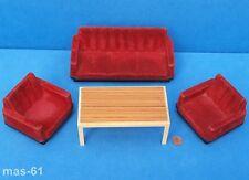 Modella conjunto de asiento salón casa de muñecas 1:12 muñecas Tube Vintage