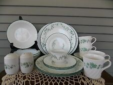 24 Piece Vintage Corelle Callaway Ivy Dinnerware Set: Service for 4 + Extras