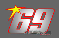 NICKY HAYDEN 69 RACE NUMBER STICKERS DECALS GRAPHICS x3 **WITH NEON STAR