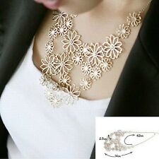 Fashion Luxury Women Bib Hollow Flower Pendant Collar Chain Statement Necklaces
