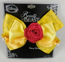 New Disney Beauty And The Beast Belle Dress Rose Cosplay Costume Hair Bow Clip