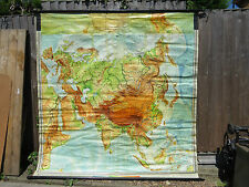VINTAGE PULL DOWN ROLL DOWN SCHOOL GEOGRAPHICAL MAP OF ASIA