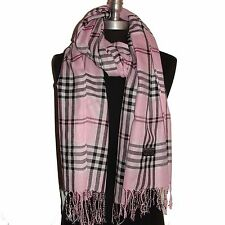PLAID/CHECK Pink pashmina long soft scarf stole wrap shawl cape UNISEX(#P303)