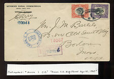 Canal Zone Scott #30 &32 Registered Cover to Boston JC Perry to Bartles(CZ30 R4)