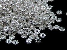 40 x 4mm Silver Plated Daisy Spacer Beads Jewellery Craft FREE UK P+P B181