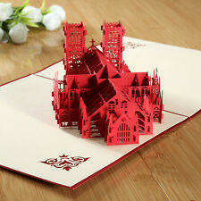 3D Pop Up Castle Greeting Card Handmade Westminster Abbey Birthday Children Day