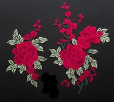 Red Rose patch / Green leaves patch / Large Rose Embroidered Patch /Sew on patch