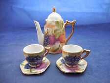 MINIATURE TEA SET POT, 2 CUPS, SAUCERS HAND PAINTED JAPAN TEAPOT 4""