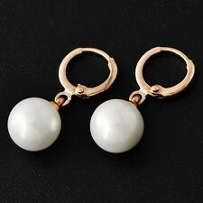Womens Vintage Big White Pearl Earrings Real 14K Rose Gold Plated Dangle Earings