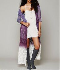 126477 NEW Free People FP One Dip Dye Lace Robe Floral Wrap Coverup Dress M