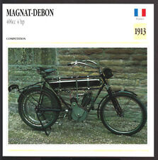 1913 Magnat-Debon 400cc 4 hp France Motorcycle Photo Spec Sheet Info Stat Card