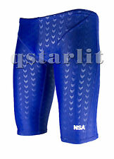 Men Male Racing Competition Fast Skin Swimwear Trunk Jammer Size 34 XXL Blue
