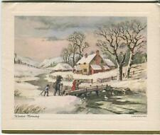 VINTAGE CHRISTMAS KINDLE FIREWOOD FARM HOUSE SNOW GEESE STREAM WINTER CARD PRINT