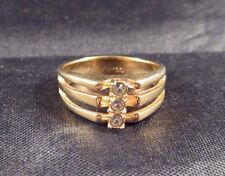Vintage Avon Signed Clear 3 Rhinestone? Ring Size 8 Gold Tone Open Work Front