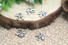 60pcs--Bee charms, silver Lovely Bee Honeybee Charm Pendant 11x10mm