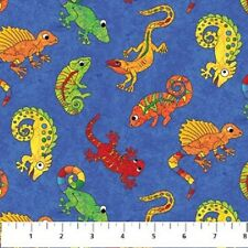 I Spy Amazon Cotton Quilt fabric by Northcott BTY Lizzards Gecko on Blue 901-45