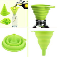 New Mini Silicone Gel Foldable Collapsible Style Funnel Hopper Kitchen Tool BE
