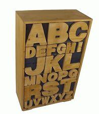 SHABBY Chic ECCENTRICO alfabeto in legno armadietto petto di CIONDOLO CASSETTI