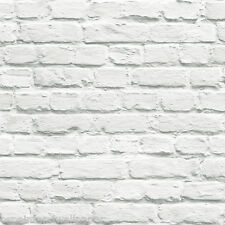 Feature Wallpaper 3D White Printed Brick Effect Funky Modern Aged Wall Retro WOW