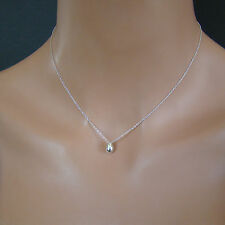 U&C Sundance Shiny Solid Silver TINY Droplet, Drop .925 Sterling Chain Necklace