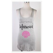 Women's I'm Actually A Mermaid Graphic Tank Top Gray Large