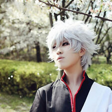 Grey Anime Layered Wavy Gintama Gintoki Sakata Short Wig Cosplay Men Boy Hair
