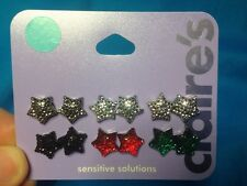 Six Pairs Of Claire's Sparkling Star Shaped Pierced Earrings New