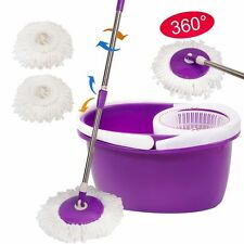 Easy Magic Floor Mop 360°Bucket 2 Heads Microfiber Rotating Head Purple New