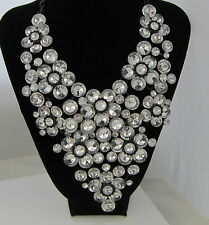 Estate Vintage STUNNING Dramatic HUGE Runway Crystal Black Japanned Necklace